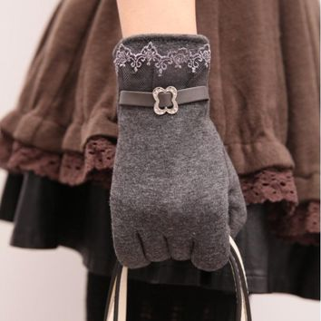 Touch screen gloves lace thickening cycling gloves Grey