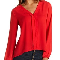 HI-LO RUFFLE BACK BLOUSE
