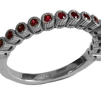 Wedding Band Ruby Stacking Ring Ruby Ring Red Ring Wedding Ring Eternity ring 15th Anniversary Victorian Ring July Birthstone 14K White gold