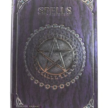 Gothic Gift Embossed Purple Spell Book Pentagram Witch Wicca Journal