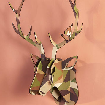 Wooden Deer Head Antler Mount Puzzle Plaque Sculpture Plaid or Camo Print Unique