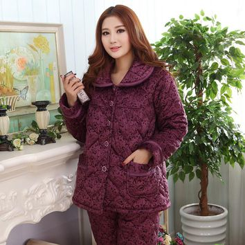autumn winter thick coral velvet quilted pajamas long-sleeved tracksuit female winter Folder cotton suit jacket free shipping