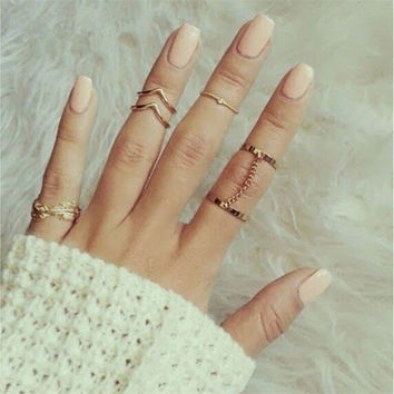 6pc Stacking punk bague femme rings gold midi ring set finger knuckle Charm sheet glass for anelli ring For Women SM6