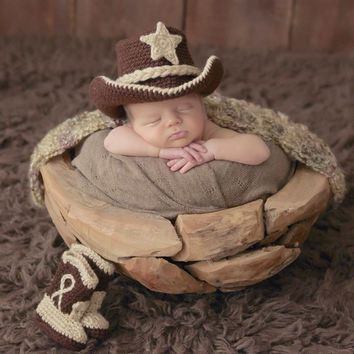 Cowboy Baby Outfit - Baby Cowboy Outfit - Photo Prop - Baby Boy Newborn Photo Outfit - Cowboy Boots - Newborn Photo Prop - Cowboy Outfit