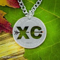 Cross Country XC Love 2 run necklace, handmade jewelry