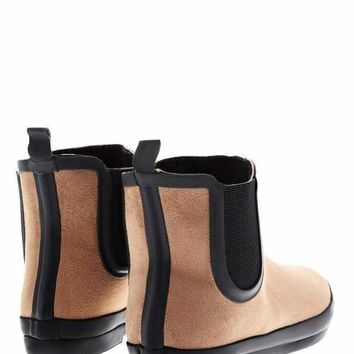Elastic Sides Camel Ankle Welly Boots