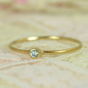 Tiny Aquamarine Solid 14k Gold Wedding Ring Set