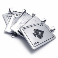 Casino Poker Playing Cards Stainless Steel Pendant Necklace ~ Your Choice