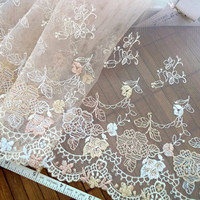 Lace trim embroidered tulle net fabric in brown by raincrazy133