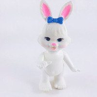 Vintage Rabbit Toy Bunny Rabbit Figurine Rubber Plastic Toy White Rabbit Made In Hong Kong Easter Unlimited Kitschy Rabbit Kitschy Bunny