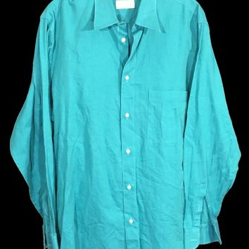 Borghese Blue Green Button Down Shirt Made Italy One Pocket Mens Size 16.5 42 - Preowned