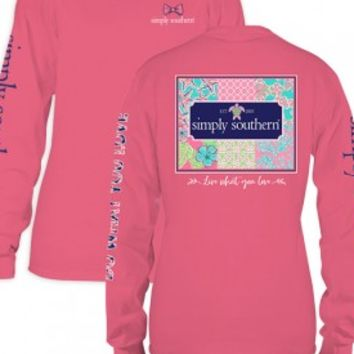 """Simply Southern """" Live What You Love"""" Long Sleeve Tee-Pink"""