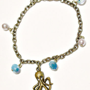 Bracelet, octopus, aqua blue, marine, nautical, kawaii, brass pewter charm jewelry