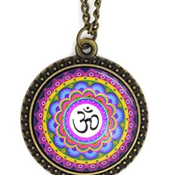 Om Mandala Necklace Gold Tone Aum NR75 Hindu Buddhist Yoga Art Symbol Pendant Fashion Jewelry