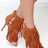 Gypsy Queen Whisky Suede Fringe Dress Sandals