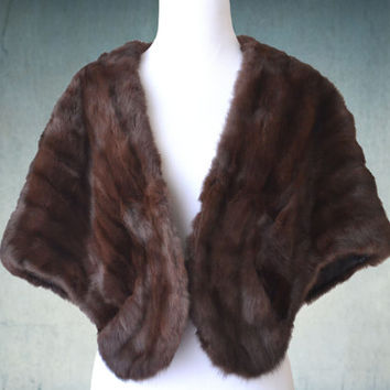 1950s Mink Stole Dark Chocolate Brown Schaffer & Gluck