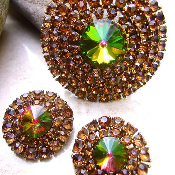 Topaz Rhinestone & Watermelon Heliotrope Brooch Earrings, Rivoli Cut, Vintage Set