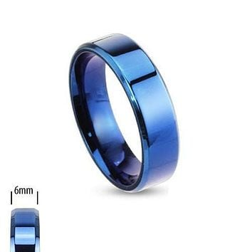 Edge of Blue 6mm - Smooth Detail Blue IP Beveled Edge Stainless Steel Ring