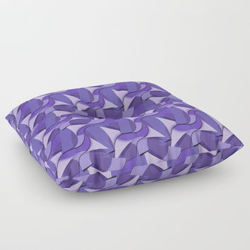 Ultra Violet Abstract Waves Floor Pillow by gx9designs