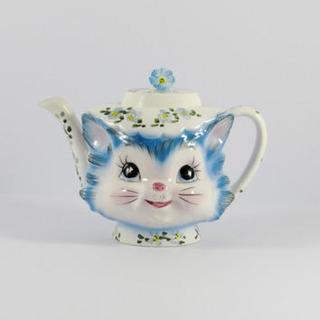 Vintage Lefton Miss Priss Cat 4 Cup Teapot, 1516, Kitsch Cat Collectable, Blue Kitty, Japan