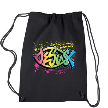 Jesus Full Color Fish Design Drawstring Backpack