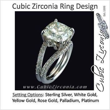 Cubic Zirconia Engagement Ring- The ________ Naming Rights 1225 (6.00 Carat Unique Style Cushion Cut with Pavé Split Band)