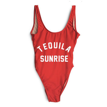 TEQUILA Sunrise Red High Cut One Piece Bathing Suit