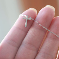 Tiny Silver Cross necklace - Small Silver Cross necklace - Tiny Silver Cross 16'' ONLY