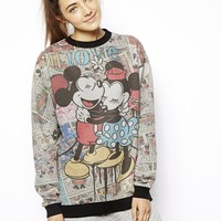ASOS Sweatshirt with Mickey and Minnie Comic Print
