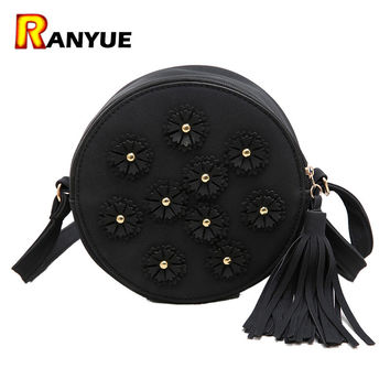 Suede Nubuck Leather Handbags Floral Rivet Tassel