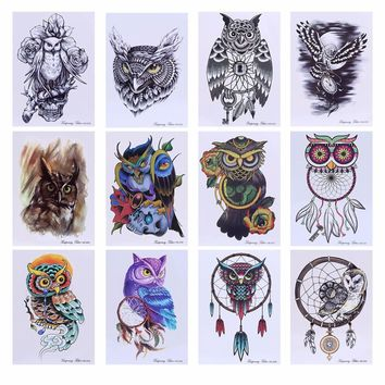 New Arrival Colorful Drawing Temporary Tattoo Owl Decal Waterproof Body Art Stickers Unisex 21cmx15cm