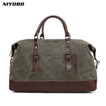 NIYOBO Canvas Leather Men Travel Bags Large Capacity Luggage Travel Tote Duffle Bags Weekend Bags bucket shoulder bag