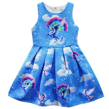 Unicorn Dresses for Girls Clothes Spring Baby Girls Clothes Unicorn Pattern Sleeveless Princess Dress for Girls Clothes Vestidos