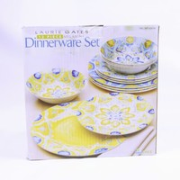 BRAND NEW Laurie Gates 12 Piece Melamine Floral Blue And Yellow Dinnerware Set