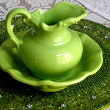 EARLY McCoy ~LIME GREEN~ Pitcher & Bowl Pottery Set Floral Designed!