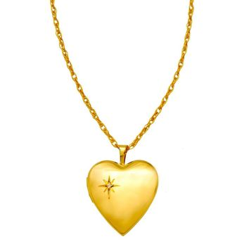 14K Yellow Gold-Filled Diamond 20mm Heart Locket Pendant Necklace, w/18-Inch Chain
