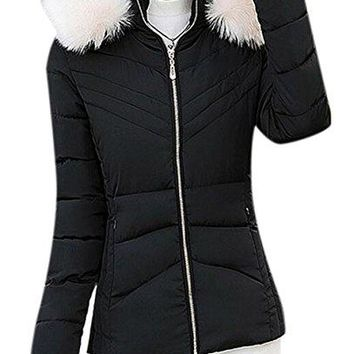 Women's Short Puffer Padded Down Bomber Jacket Coat with Fur Trim Hood