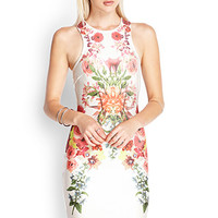 FOREVER 21 Scuba Knit Photo Floral Dress Cream/Red Large