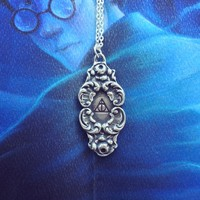 Deathly Hallows Flourish Pewter Necklace from SHOW PONY