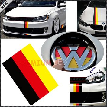 "(1) 10"" Germany Flag Color Stripe Decal Sticker For Audi BMW MINI Mercedes Porsche Volkswagen Exterior or Interior Decoration"