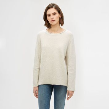 Boucle Crewneck Sweater - Cloud