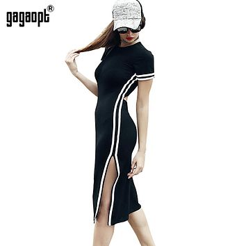 Gagaopt  Spring/Autumn Dress Women Casual Street Side Split Print Striped Dress Vintage Vestidos Open Back Sexy Club Robes