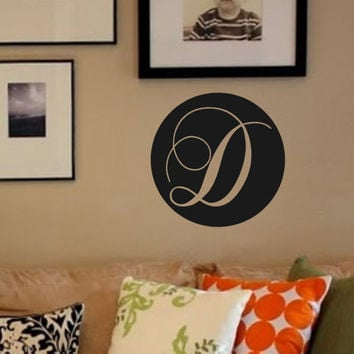 Circle Monogram #1- Vinyl Wall Decal-Home Decor- Family Wall Decor-Custom Wall Decor- Initial- Personalized Monogram- Preppy Decor