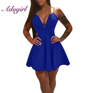 Adogirl Sexy A-line Mini Dress Spaghetti Strap Backless Bodycon 2018 Women Vestidos Night Club Deep V Neck Royal Blue Dress