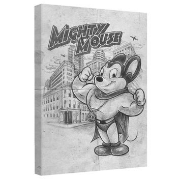 Mighty Mouse - Sketch Canvas Wall Art With Back Board