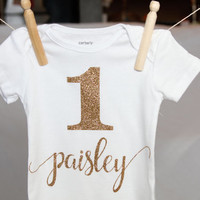 Personalized Gold Glitter First Birthday Onesuit Bodysuit *Made to Order*