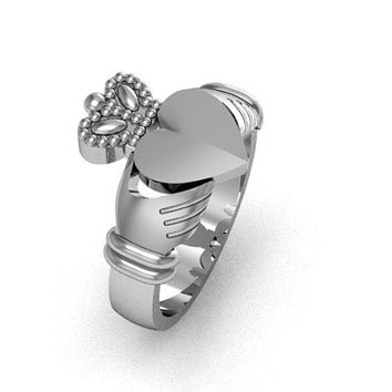 Claddagh Ring - Sterling Silver Men's Claddagh Love Friendship Ring