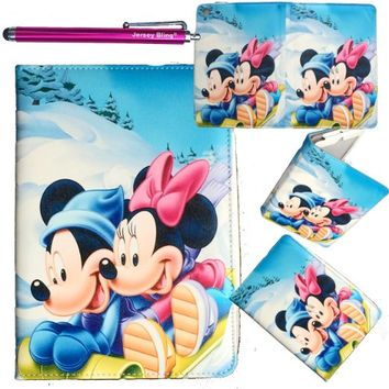 iPad 2/3/4 Minnie Mouse Faux Leather Case Cover Folio with Disney Minnie Mouse Sticker Book with over 200 Stickers Jersey Bling® Stylus (Style #2)