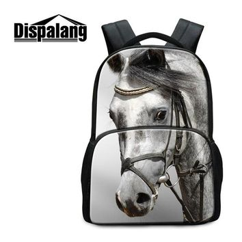 Boys bookbag trendy Youth Animal Laptop Backpacks for Children Large Capacity Horse Pattern School Bags for Boys Cute  for Teen Girls Mochila AT_51_3