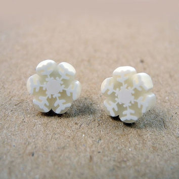 Snowflake Earring Studs Polymer Clay Winter Jewelry White Snow Flake Free Shipping Etsy